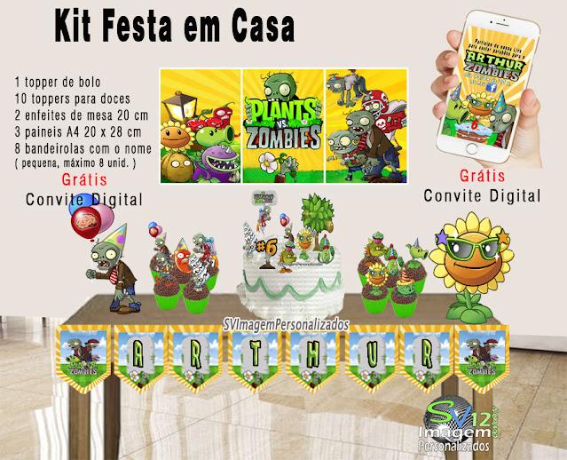 kit festa Plants vs Zombie dicas e ideias para festa  personalizadas Monte seu kit Guloseimas