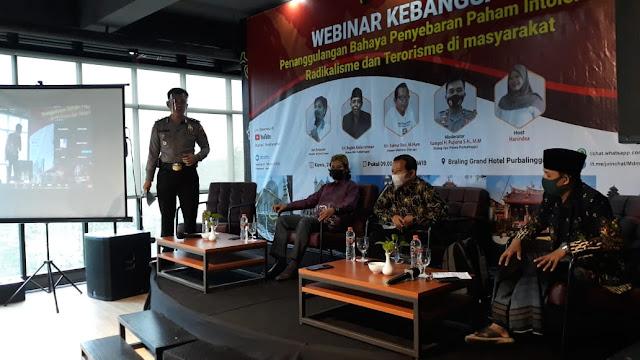 Polres Purbalingga menggelar webinar kebangsaan, Membentengi Generasi Muda Terhindar Paham Radikal