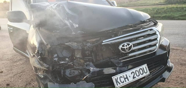 Bumula MP Moses Mwambu in a road accident at Timboroa photos
