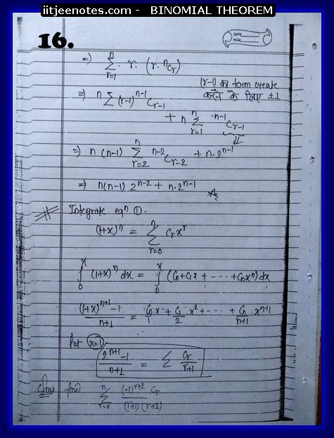 IITJEE Competiton Notes on Binomial Theorem5