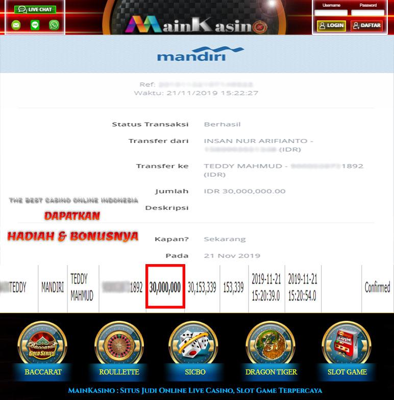 Selamat Kepada Member Setia MAIN KASINO Withdraw RP 30.000.000