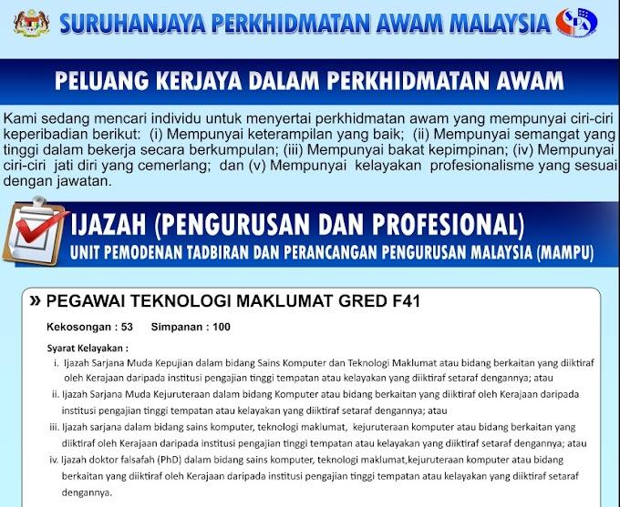 Jawatan Kosong di Unit Pemodenan Tadbiran Dan Perancangan Pengurusan Malaysia (MAMPU)