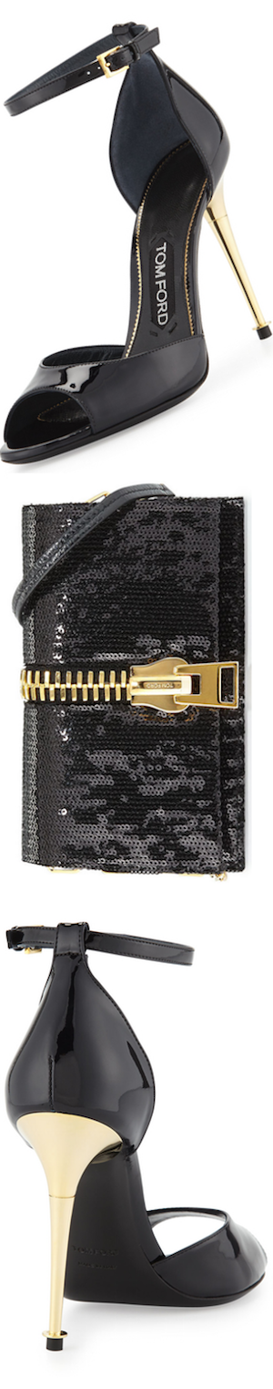 TOM FORD Small Zip-Front Sequin Karung Crossbody Clutch Bag