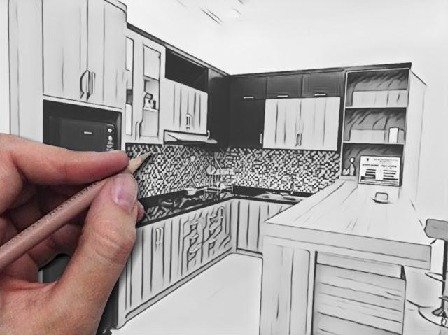 Menggambar kitchen set sidoarjo surabaya