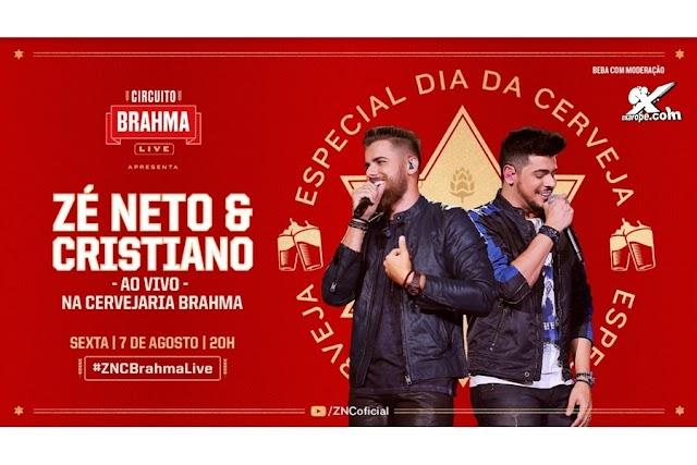 Alô, Ambev: No Dia Internacional da Cerveja, Brahma e Zé Neto e Cristiano confirmam live dentro da cervejaria