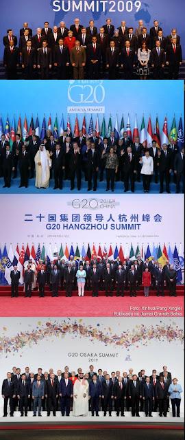 Fotos oficiais do G20 com Lula, Dilma, Temer e Bolsonaro