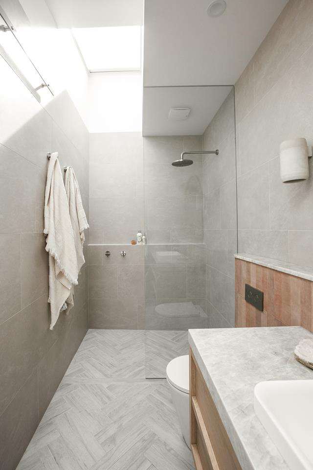Tiled walk-in shower in the guest house