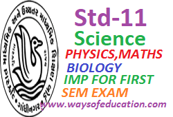 STD-11 NCERT PHYSICS,MATHS AND BIOLOGY IMP FOR FIRST SEM EXAM