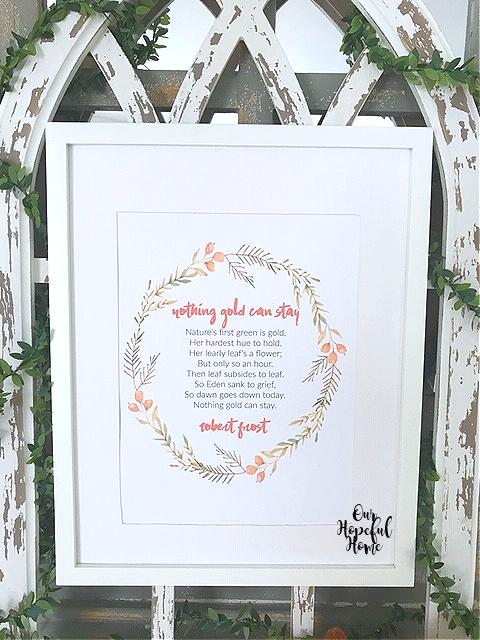 white framed fall printable wreath robert frost poem