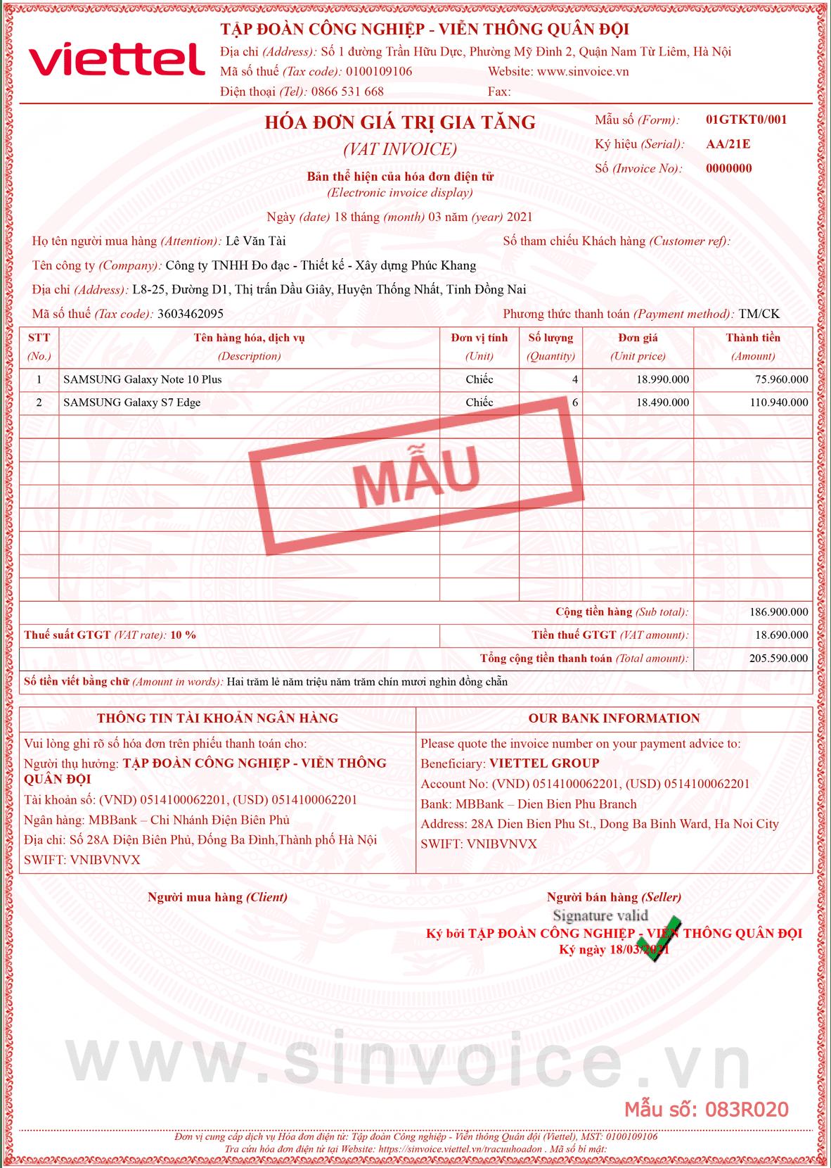 Mẫu hóa đơn điện tử số 083R020