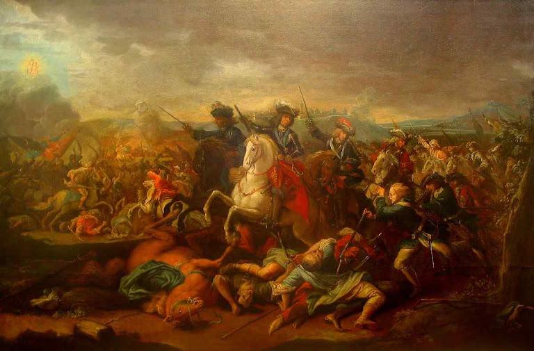 O príncipe Eugênio de Saboia na conquista de Belgrado, a 22 de Agosto de 1717.. Enquanto as batalhas se travavam no mar, os exércitos católicos avançavam por terra.