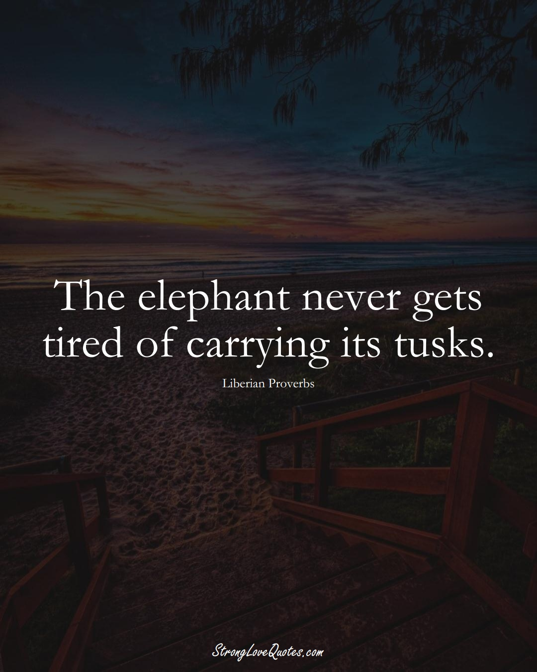 The elephant never gets tired of carrying its tusks. (Liberian Sayings);  #AfricanSayings