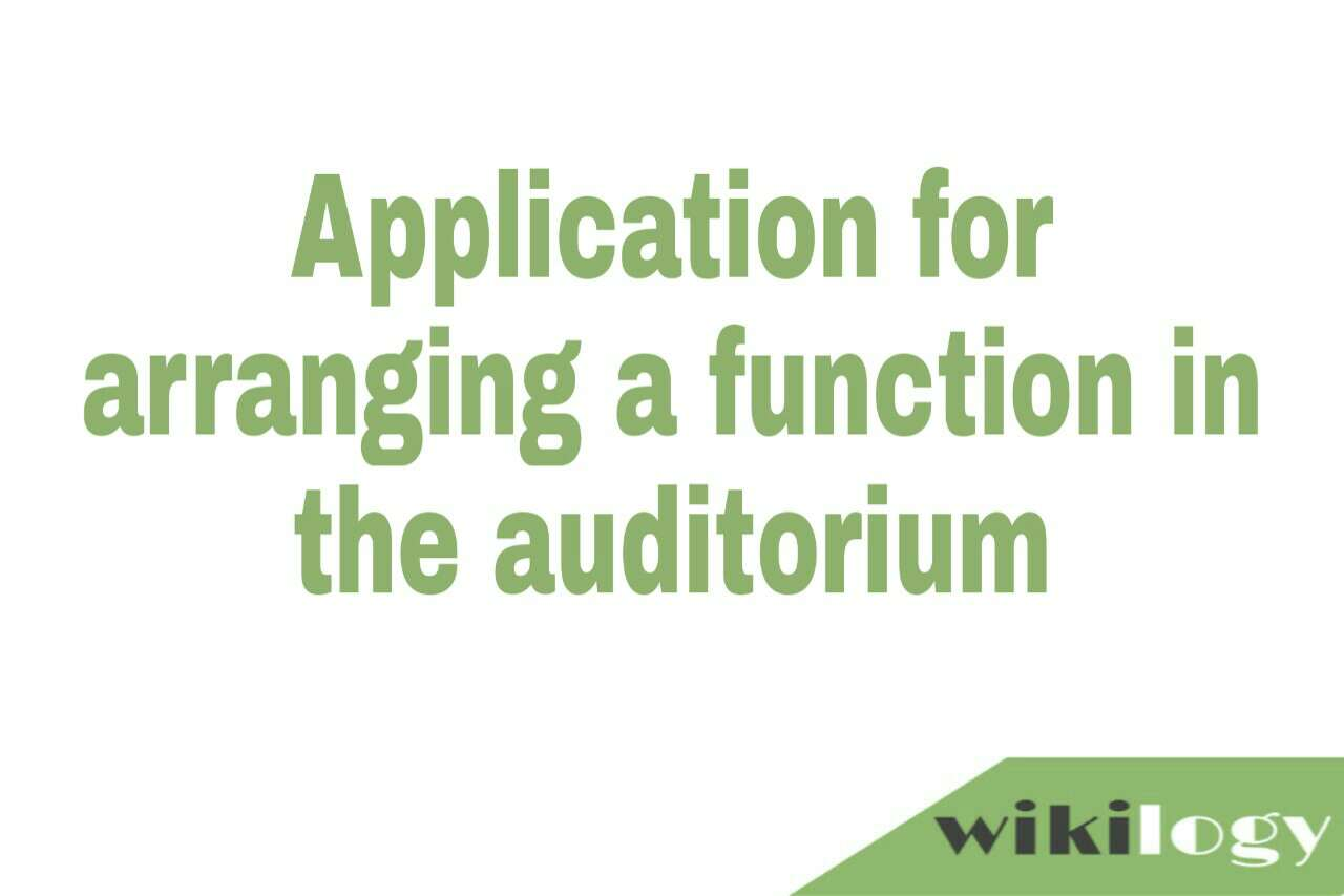 Application for arranging a function in the auditorium