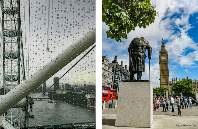 Londres vista do London Eye e a estátua de Winston Churchill próxima ao Parlamento
