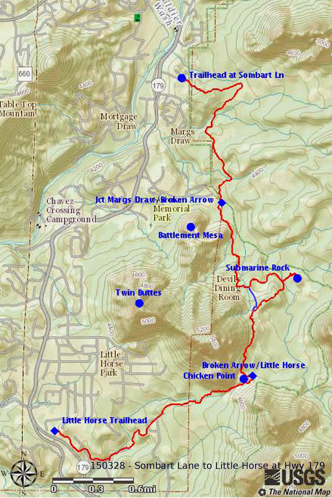 our track is shown in red on the included map below