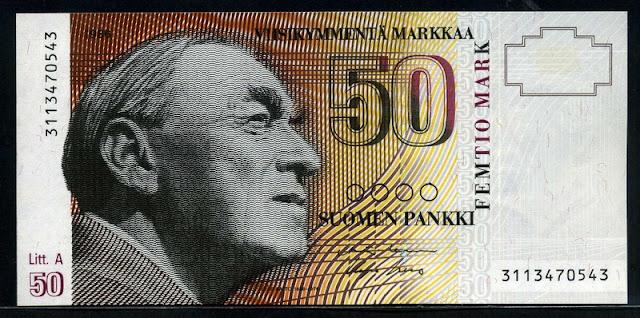Currency Finland 50 Finnish Markkaa Banknote