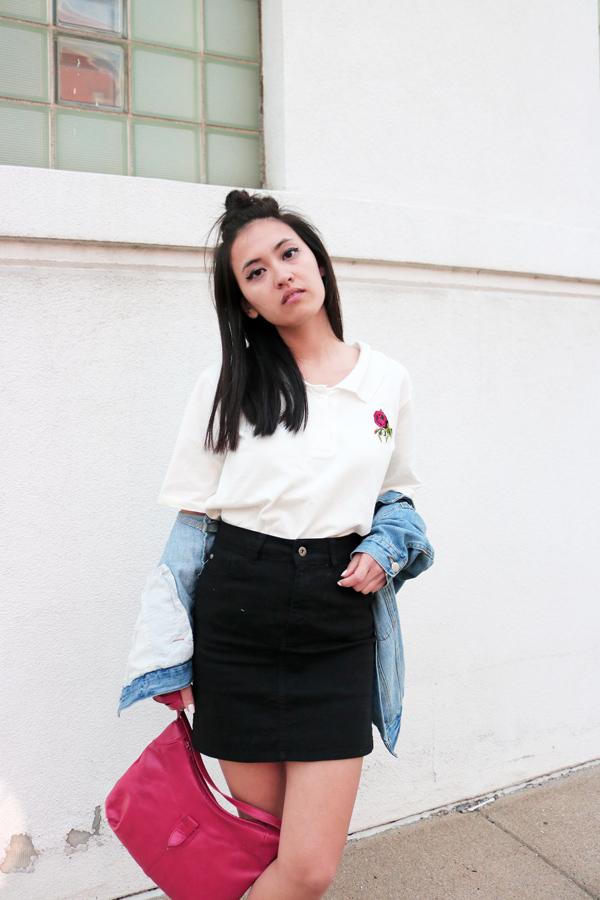 Embroidery shirt, Black denim mini skirt, Spring Style