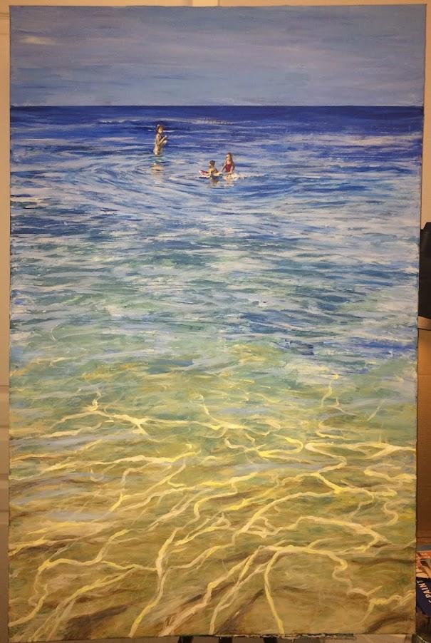 Karine Babel artiste peintre vers Périgueux a peint le bain en acrylique sur toile.