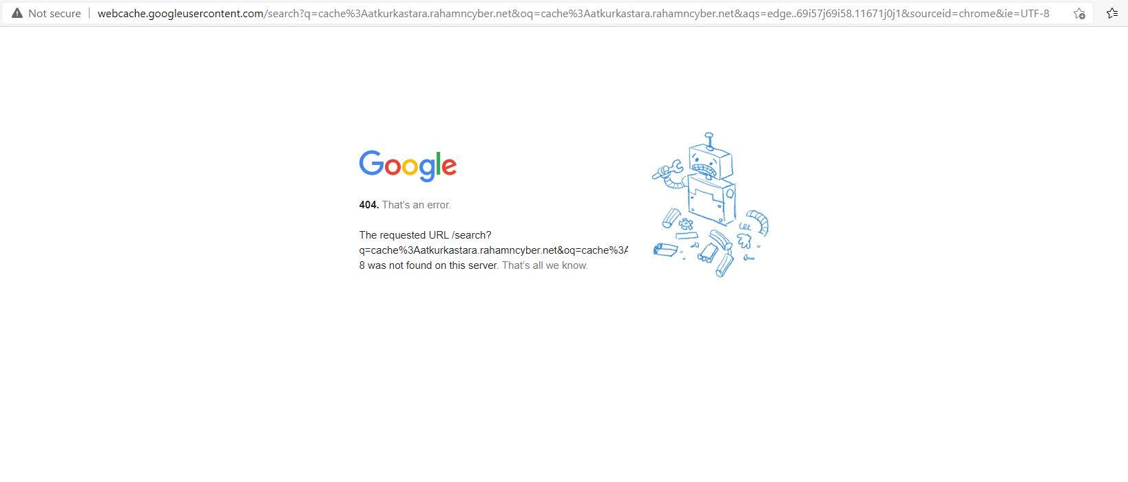Web cache google error 404 di microsoft edge