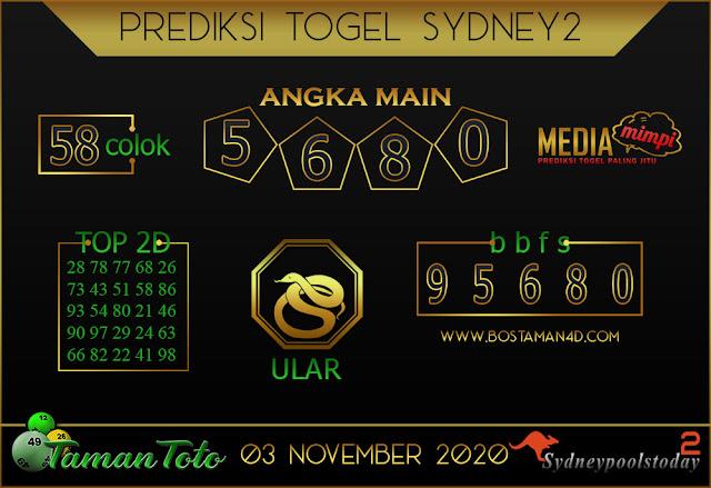 Prediksi Togel SYDNEY 2 TAMAN TOTO 03 NOVEMBER 2020