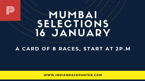 Mumbai Race Selections 16 January,  India Race Tips by indianracepunter,  free indian horse racing tips