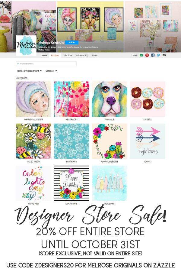 pin image of Melrose Originals Zazzle Store October sale