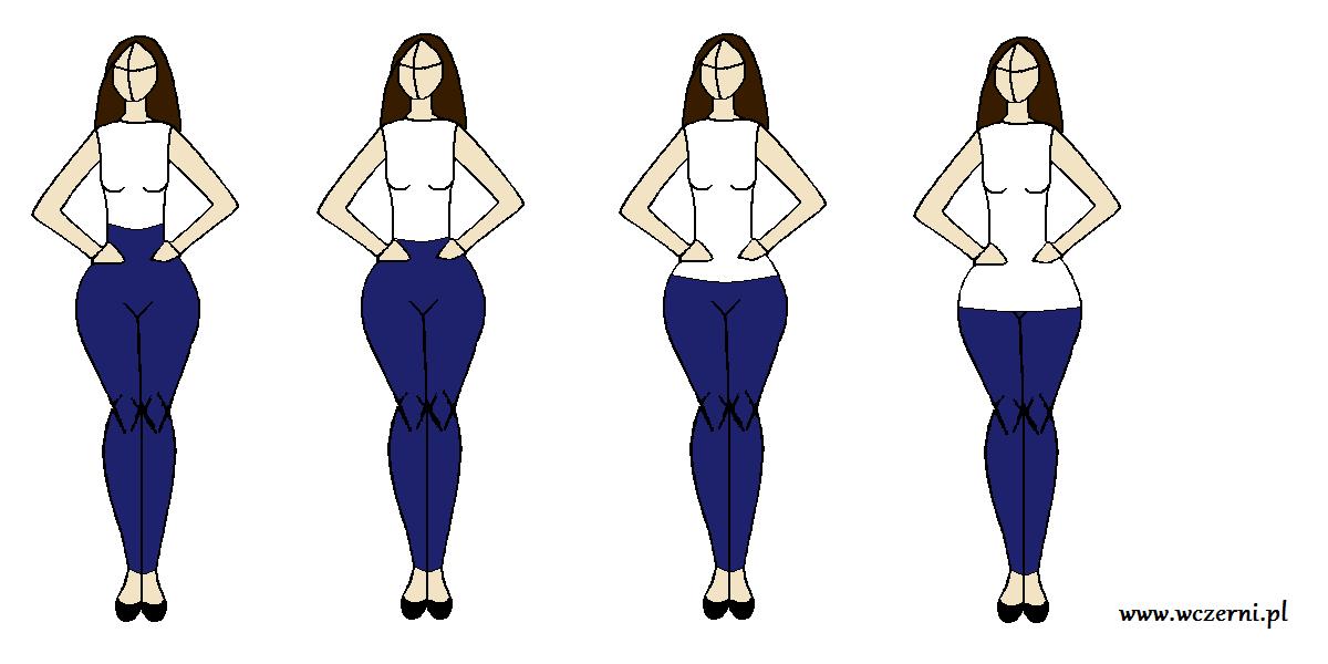 szerokie biodra wyszczuplone za pomocą odpowiedniego stanu spodni