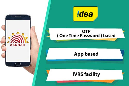 Link Aadhaar with Idea through OTP based, App based & IVRS Facility Methods