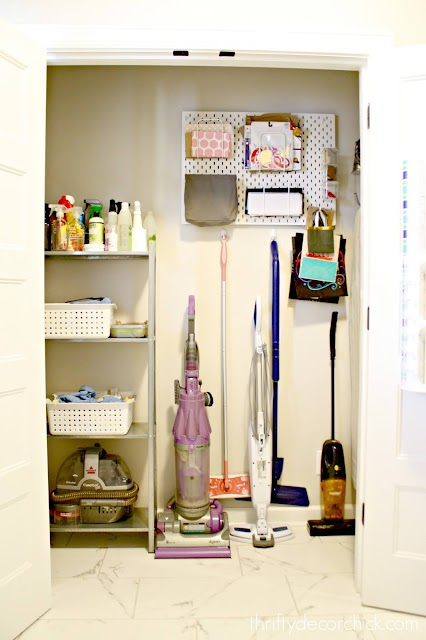 mud room closet for cleaning supplies
