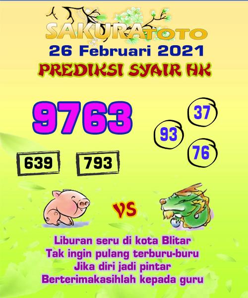 Syair HK Jumat 26 Februari 2021 -