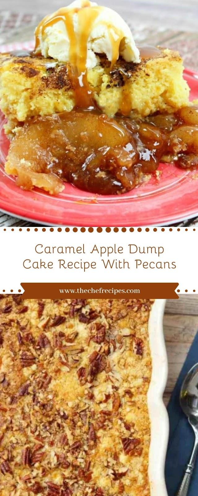 Caramel Apple Dump Cake Recipe With Pecans