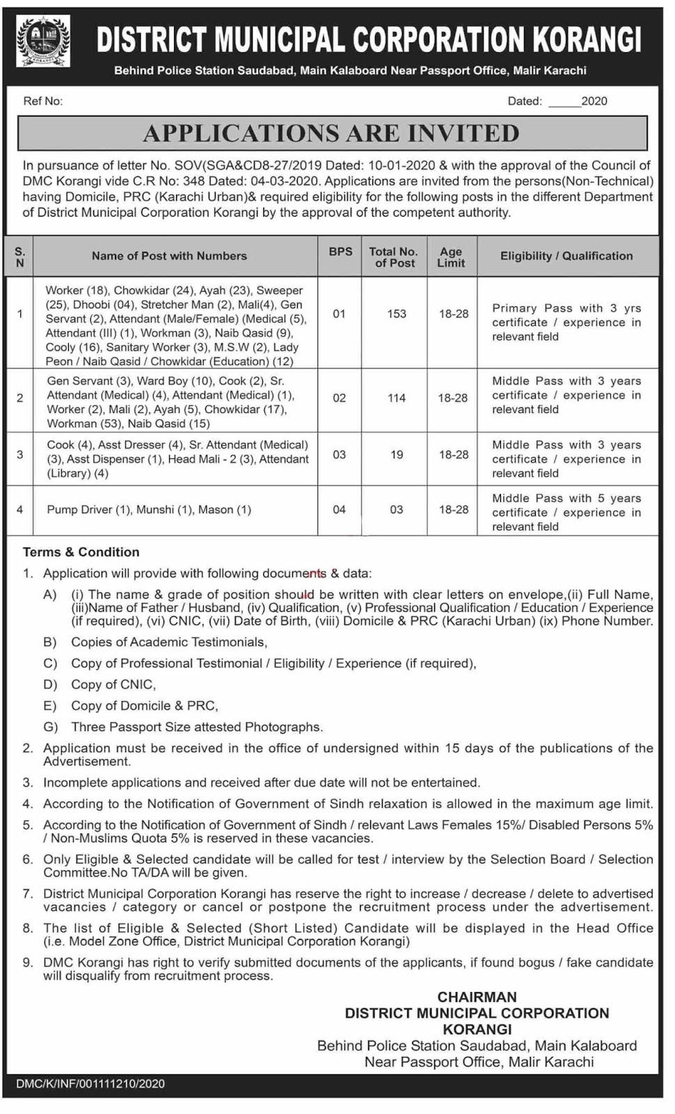 289 Posts in Municipal Corporation Labor Posts Karachi 2020