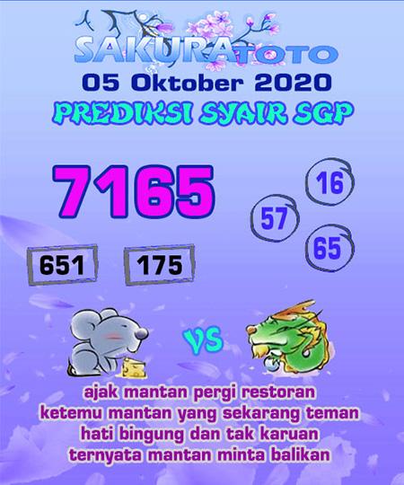 Prediksi Sakuratoto SGP Senin 05 Oktober 2020