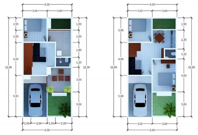 Denah Rumah Minimalis 2 Lantai Ukuran 6 x 12 meter