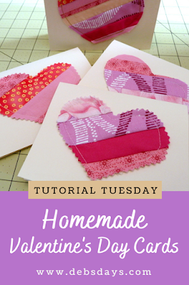 Homemade Valentine's Day Fabric Note Cards