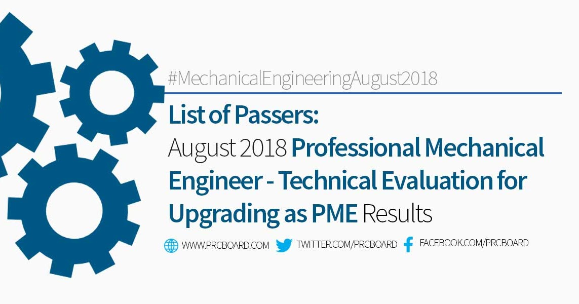 Technical Evaluation | List Of Passers August 2018 Professional Mechanical Engineer