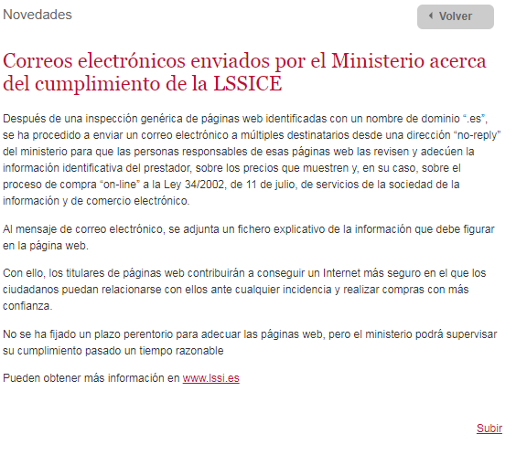 Captura web ministerio posible incumplimiento LSSI