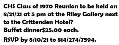 8-10 Coudersport 1970 Class Reunion Reservation Deadline