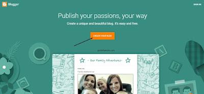 Laman tampilan blogger.com ketika akan sign in