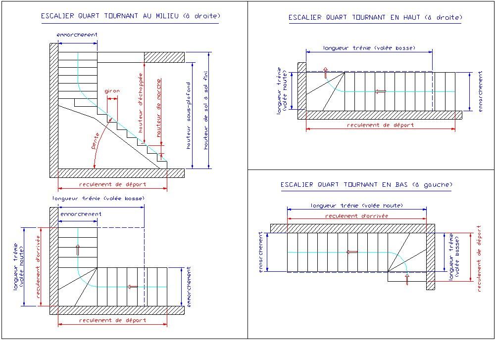 Croissant Escaliers en plan et elevation vue blocs AutoCad DWG RN-98