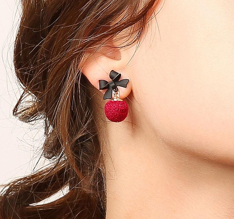 甜蜜的愛蝴蝶結布球耳環