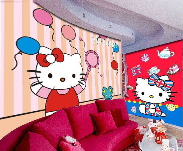 Hello Kitty wall mural hello kitty wallpaper kid bedroom children baby girl wallpaper mural.jpg
