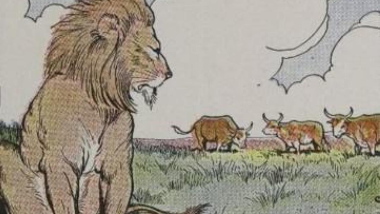 Three Bullocks And A Lion in Hindi