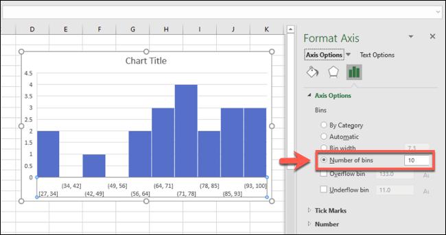 رسم بياني لـ Excel ، مع تجميعات الصناديق مجمعة حسب عدد الصناديق
