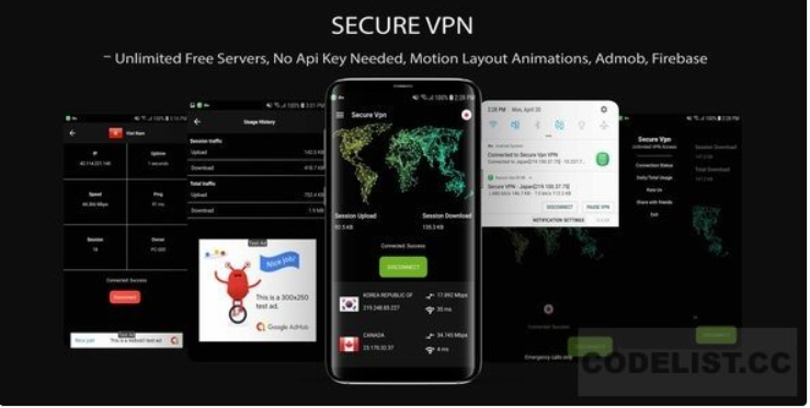 Secure VPN v1.0 - (Unlimted Free Servers + Admob + Motion Layout). vpn Android App Source Code