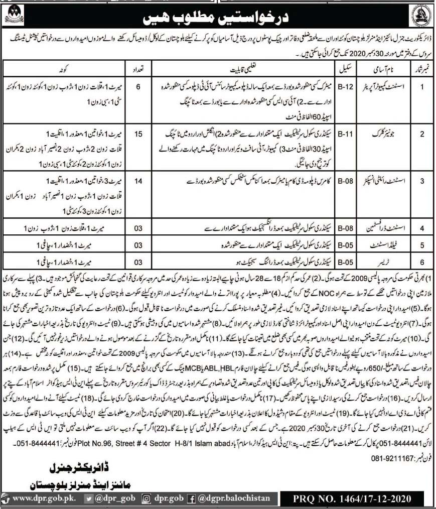 Mines and Minerals Department Balochistan Jobs 2020