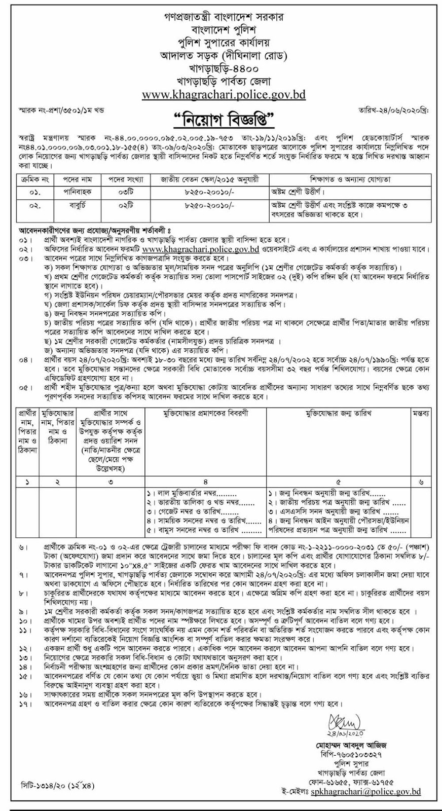 Khagrachari Police Super (SP) Office Job Circular 2020