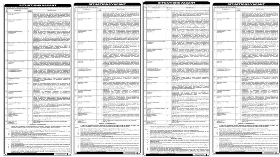 Director Legislation & Deputy Director PDP Public Sector Organization Jobs 2020 Assistant Coordination Officer, Office Assistant, UDC, Clerk, Upper Division Clerk and more