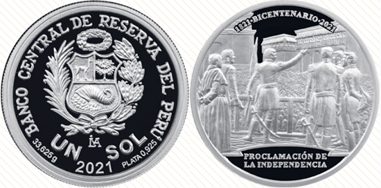 Peru 1 sol 2021 - Bicentenary of the Declaration of Independence