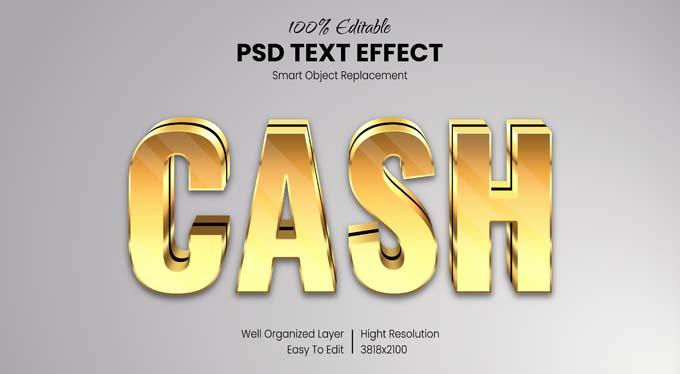 Cash Gold Text PSD Mockup
